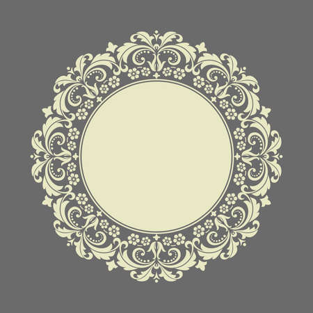 Decorative frame Elegant vector element for design in Eastern style, place for text. Floral gray border. Lace illustration for invitations and greeting cards
