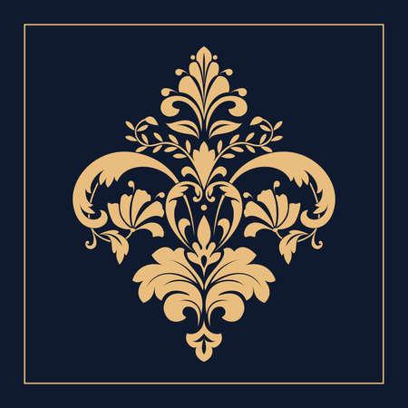 Damask graphic ornament. Floral design element. Gold and dark blue vector pattern