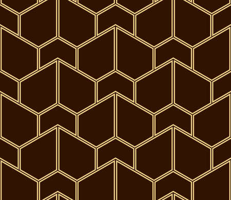 The geometric pattern with lines. Seamless vector background. Gold and brown texture. Graphic modern pattern. Simple lattice graphic design