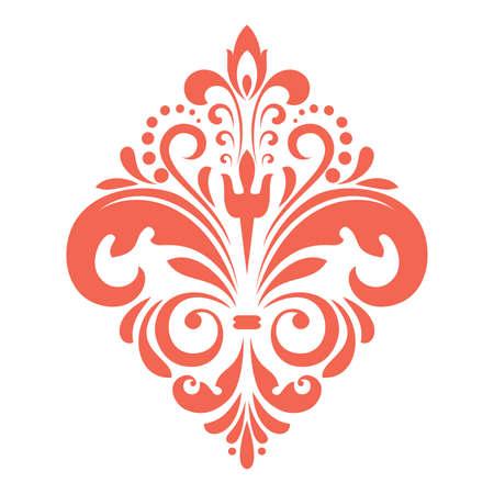 Damask graphic ornament. Floral design element. Pink vector pattern Иллюстрация