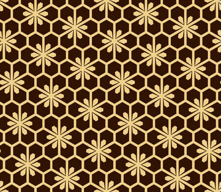 Flower geometric pattern. Seamless vector background. Gold and dark brown ornament