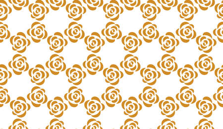 Flower geometric pattern. Seamless vector background. White and gold ornament Иллюстрация