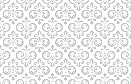 Wallpaper in the style of Baroque. Seamless vector background. White and gray floral ornament. Graphic pattern for fabric, wallpaper, packaging. Ornate Damask flower ornament. Иллюстрация