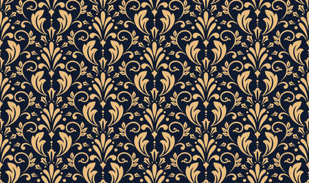 Floral pattern. Vintage wallpaper in the Baroque style. Seamless vector background. Gold and dark blue ornament for fabric, wallpaper, packaging. Ornate Damask flower ornament Иллюстрация