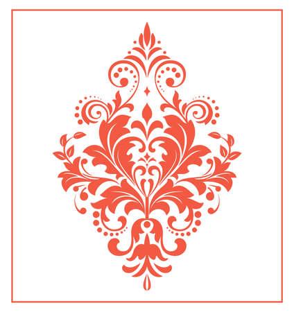 Damask graphic ornament. Floral design element. Red vector pattern Иллюстрация