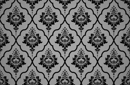 Wallpaper in the style of Baroque. Seamless vector background. Black and gray floral ornament. Graphic pattern for fabric, wallpaper, packaging. Ornate Damask flower ornament Иллюстрация