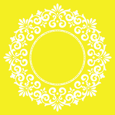 Decorative frame Elegant vector element for design in Eastern style, place for text. Floral yellow border. Lace illustration for invitations and greeting cards