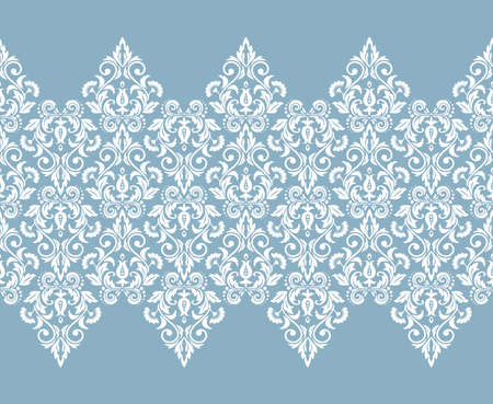 Wallpaper in the style of Baroque. Seamless vector background. White and blue floral ornament. Graphic pattern for fabric, wallpaper, packaging. Ornate Damask flower ornament