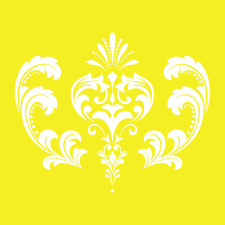 Damask graphic ornament. Floral design element. Yellow vector pattern 向量圖像