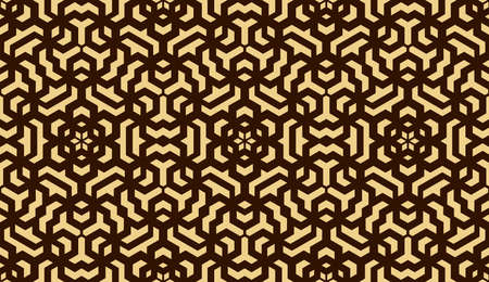 Abstract geometric pattern. A seamless vector background. Gold and dark brown ornament. Graphic modern pattern. Simple lattice graphic design