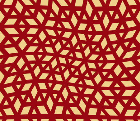 Abstract geometric pattern. A seamless vector background. Red and gold ornament. Graphic modern pattern. Simple lattice graphic design Ilustração