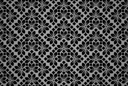 Flower geometric pattern. Seamless vector background. Back and gray ornament