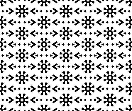 Flower geometric pattern. Seamless background. White and black ornament. Ornament for fabric, wallpaper, packaging. Decorative print Standard-Bild
