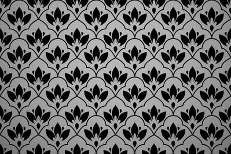 Flower geometric pattern. Seamless background. Black ornament Standard-Bild