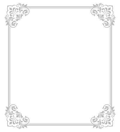 Decorative frame Elegant element for design in Eastern style, place for text. Floral gray border. Lace illustration for invitations and greeting cards Standard-Bild