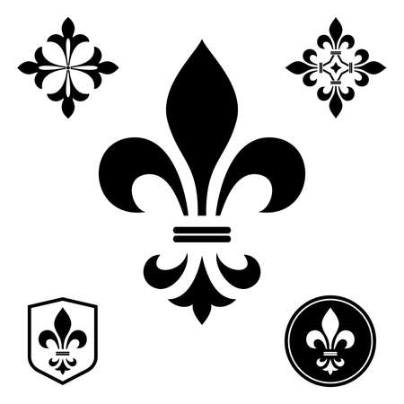 Black heraldic sign,  design element, decoration. Graphic vector pattern.