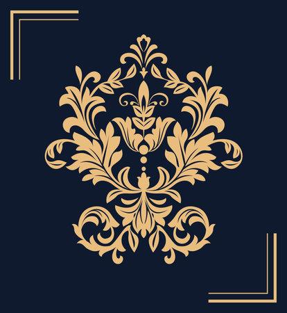 Damask graphic ornament. Floral design element. Dark blue, and gold vector pattern Illustration