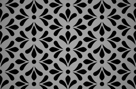 Flower geometric pattern. Seamless vector background. Black and gray ornament Illustration