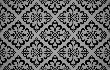 Wallpaper in the style of Baroque. Seamless vector background. Black and gray floral ornament. Graphic pattern for fabric, wallpaper, packaging. Ornate Damask flower ornament Illustration