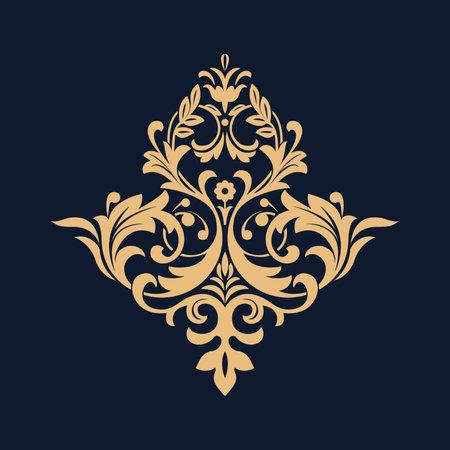 Damask graphic ornament. Floral design element. Dark blue and gold vector pattern Illustration