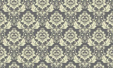 Floral pattern. Vintage wallpaper in the Baroque style. Seamless vector background. Gray ornament for fabric, wallpaper, packaging. Ornate Damask flower ornament