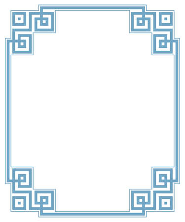 Decorative frame Elegant vector element for design in Eastern style, place for text. Geometric blue border. Lace illustration for invitations and greeting cards Illustration