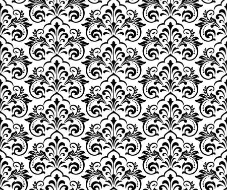 Floral pattern. Vintage wallpaper in the Baroque style. Seamless vector background. White and black ornament for fabric, wallpaper, packaging. Ornate Damask flower ornament Illustration