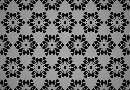 Flower geometric pattern. Seamless vector background. Black ornament Illustration