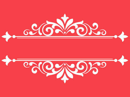 Vintage pink and white element. Graphic vector design. Damask graphic ornament