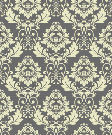 Wallpaper in the style of Baroque. Seamless vector background. Gray floral ornament. Graphic pattern for fabric, wallpaper, packaging. Ornate Damask flower ornament