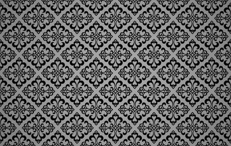 Floral pattern. Vintage wallpaper in the Baroque style. Seamless vector background. Black and gray ornament for fabric, wallpaper, packaging. Ornate Damask flower ornament Illustration