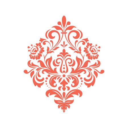 Damask graphic ornament. Floral design element. Pink vector pattern Illustration