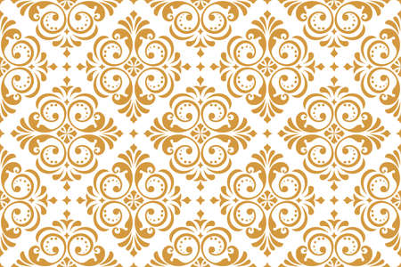 Floral pattern. Vintage wallpaper in the Baroque style. Seamless vector background. White and gold ornament for fabric, wallpaper, packaging. Ornate Damask flower ornament Çizim
