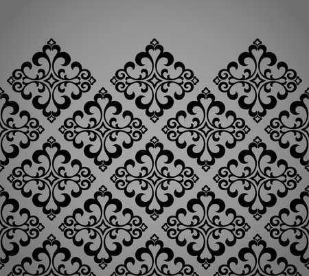 Wallpaper in the style of Baroque. Modern vector background. Black and gray floral ornament. Graphic pattern for fabric, wallpaper, packaging. Ornate Damask flower ornament Illustration