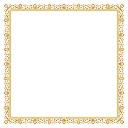 Decorative frame Elegant vector element for design in Eastern style, place for text. Floral golden border. Lace illustration for invitations and greeting cards,