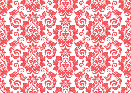 Floral pattern. Vintage wallpaper in the Baroque style. Seamless vector background. White and pink ornament for fabric, wallpaper, packaging. Ornate Damask flower ornament Vetores