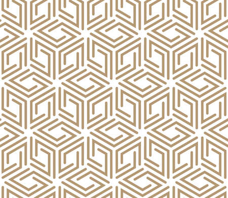 Abstract geometric pattern. A seamless vector background. White and beige ornament. Graphic modern pattern. Simple lattice graphic design