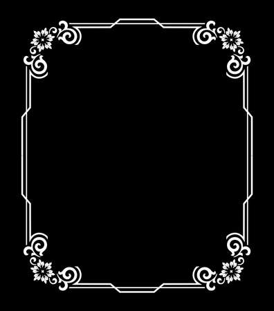 Decorative frame Elegant vector element for design in Eastern style, place for text. Floral black and white border. Lace illustration for invitations and greeting cards