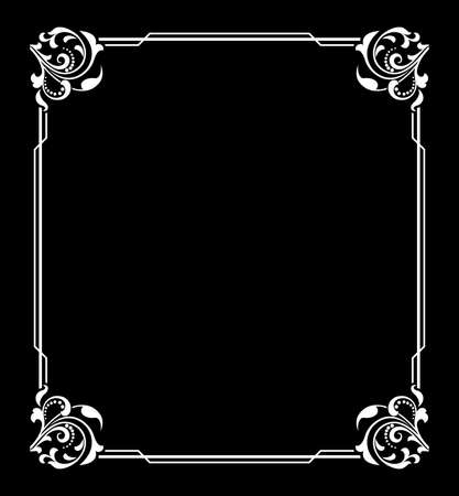 Decorative frame Elegant vector element for design in Eastern style, place for text. Floral blac and white border. Lace illustration for invitations and greeting cards Vecteurs
