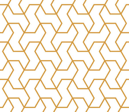 The geometric pattern with lines. Seamless vector background. White and gold texture. Graphic modern pattern. Simple lattice graphic design Ilustração Vetorial