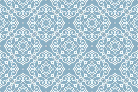 Floral pattern. Vintage wallpaper in the Baroque style. Seamless vector background. White and blue ornament for fabric, wallpaper, packaging. Ornate Damask flower ornament Reklamní fotografie - 166852808