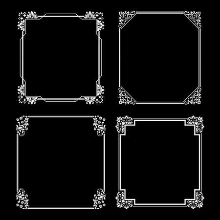 Set of decorative frames Elegant vector element for design in Eastern style, place for text. Floral black and white borders. Lace illustration for invitations and greeting cards ..