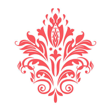 Damask graphic ornament. Floral design element. Pink vector pattern Ilustrace