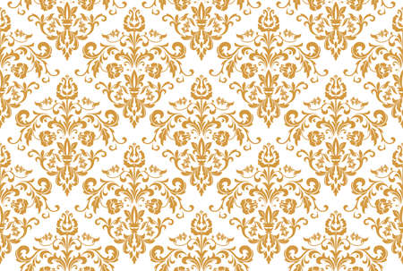 Wallpaper in the style of Baroque. Seamless vector background. White and gold floral ornament. Graphic pattern for fabric, wallpaper, packaging. Ornate Damask flower ornament Reklamní fotografie - 166905585