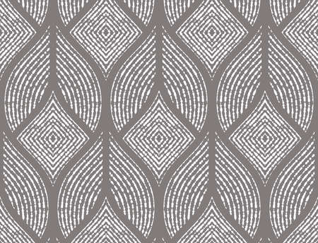 The geometric pattern with wavy lines. Seamless vector background. White and gray texture. Simple lattice graphic design.