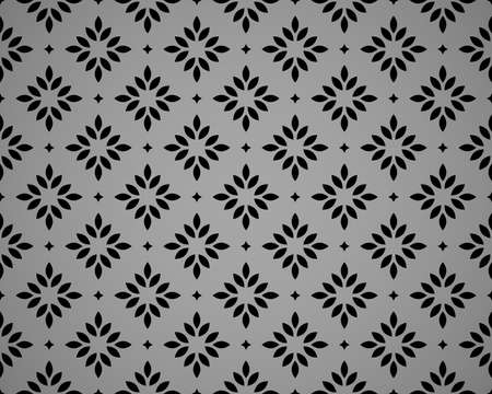 Flower geometric pattern. Seamless vector background. Black and gray ornament Ilustrace