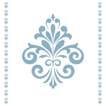 Damask graphic ornament. Floral design element. Blue and white vector pattern