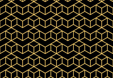 The geometric pattern with lines. Seamless vector background. Gold and black texture. Graphic modern pattern. Simple lattice graphic design Ilustrace