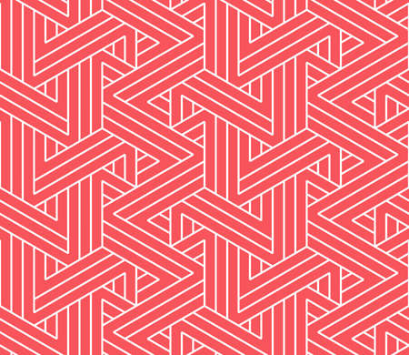 Abstract geometric pattern with stripes, lines. Seamless vector background. White and pink ornament. Simple lattice graphic design Reklamní fotografie - 167126775