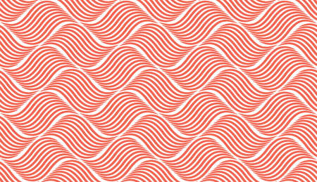 The geometric pattern with wavy lines. Seamless vector background. White and pink texture. Simple lattice graphic design Standard-Bild - 167126776